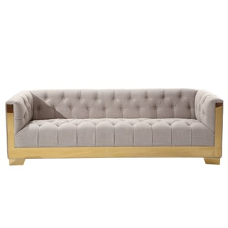 Armen Living Zinc Modern Sofa in Taupe Tweed and Shiny Gold Finish