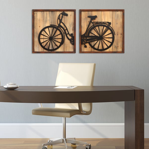 Stratton Home Decor Set Of 2 Retro Bicycle Panels Wall