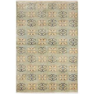 Ecarpetgallery Peshawar Ziegler Pale Weak Cyan Wool Open Field Rectangular Rug (4' x 6')