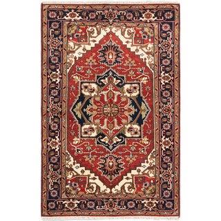 Ecarpetgallery Serapi Heritage Dark Copper Wool Medallion Corners Rectangular Rug (5'2 x 8')