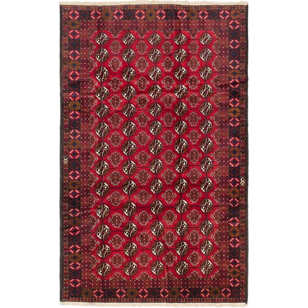 Ecarpetgallery Khal Mohammadi Red Wool Elephant Foot Rectangular Rug (6'6 x 10'5)