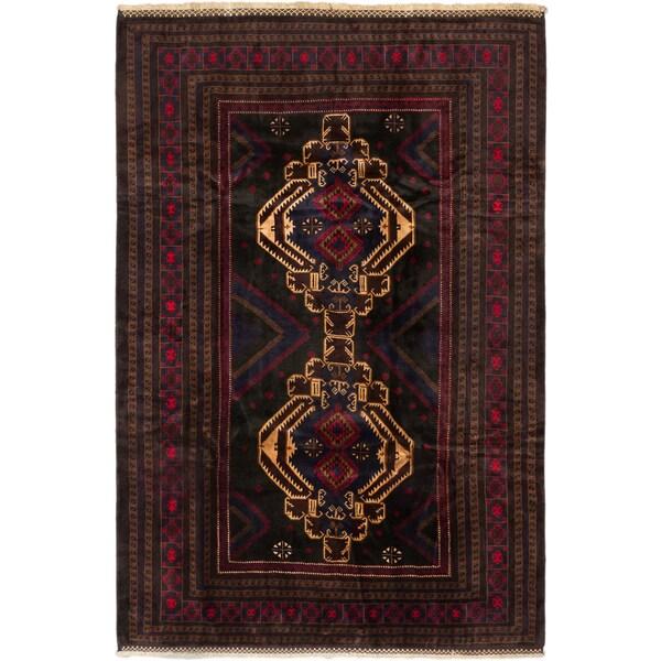 Ecarpetgallery Finest Rizbaft Black, Red Wool Geometric Rectangular Rug - 6'9 x 10'