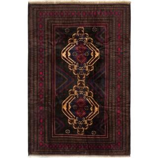 Ecarpetgallery Finest Rizbaft Black, Red Wool Geometric Rectangular Rug (6'9 x 10')