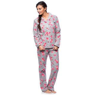 White Mark Women's Slim-Fit Floral Print Flannel Pajama Set