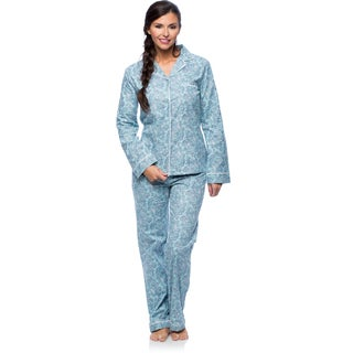 White Mark Women's Slim-Fit Paisley Print Flannel Pajama Set