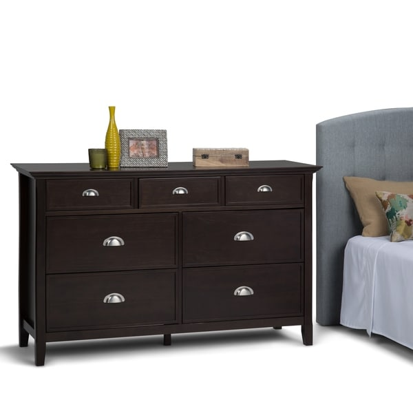 45991954c34 WYNDENHALL Normandy Solid Wood 58 inch Wide Rustic Bedroom Dresser in  Tobacco Brown