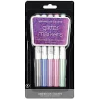 Glitter Markers Broad Point 5/PkgBlack, Navy, Purple, Fuchsia & Green