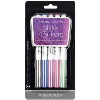 Glitter Markers Broad Point 5/PkgBlack, Navy, Purple, Fuchsia & Green