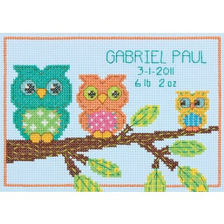 Owl Birth Record Mini Counted Cross Stitch Kit7inX5in 14 Count