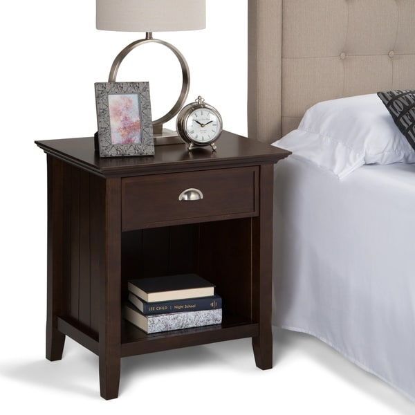 WYNDENHALL Normandy Solid Wood 24 inch Wide Rustic Bedside Nightstand Table
