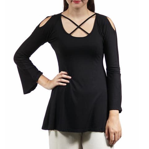24/7 Comfort Apparel Women's Split-Sleeve Tunic