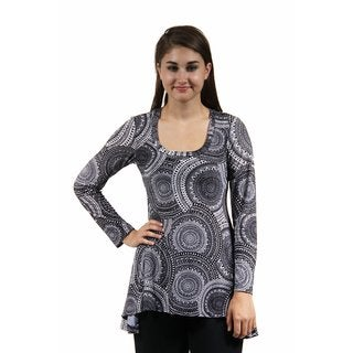 24/7 Comfort Apparel Women's Black&White Oriental Printed Tunic