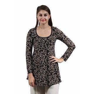24/7 Comfort Apparel Women's Cream&Black Swirl Print Tunic