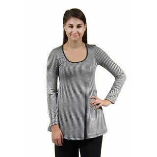 24/7 Comfort Apparel Women's Grey Striped Printed Tunic