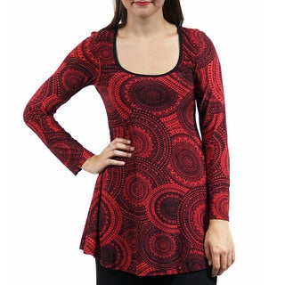 24/7 Comfort Apparel Women's Black&Red Oriental Printed Tunic