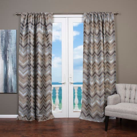Lambrequin Faiz Jacquard Chevron Design Curtain Panel - 54 x 96