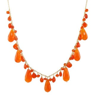 14k Yellow Gold Carnelian Necklace