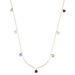 14k Yellow Gold Pear-cut Multi-gemstone Necklace