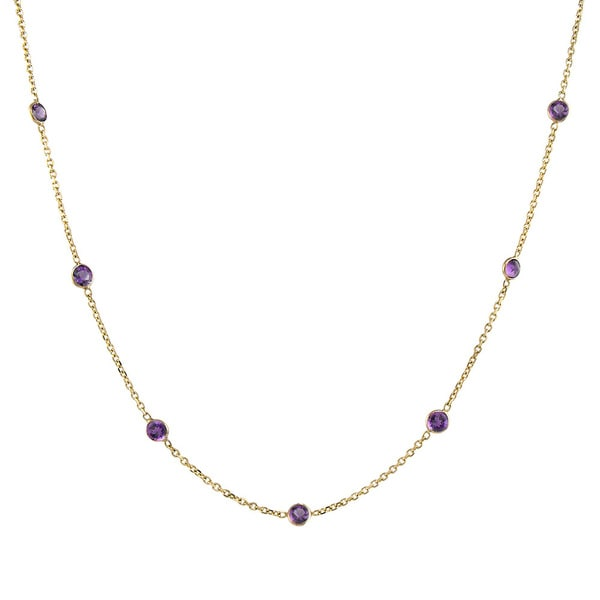 14K White Gold Necklace With Amethyst Gemstones By The Yard 18 Inches
