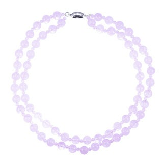 Sterling Silver Rose Quartz 2-row Necklace