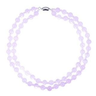 Sterling Silver Rose Quartz 2-row Necklace