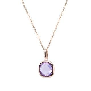 14k Rose Gold Bezel-set Amethyst 17-inch Necklace