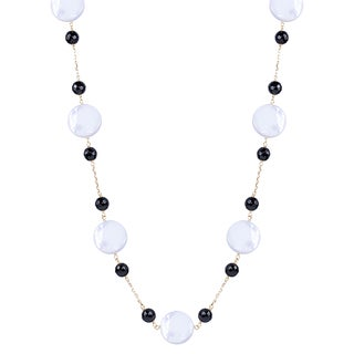 14k Yellow Gold Black Onyx Mother of Pearl 18-inch Necklace