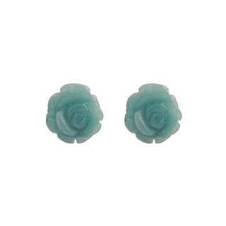 14k Yellow Gold Chinese Amazonite Flower Stud Earrings