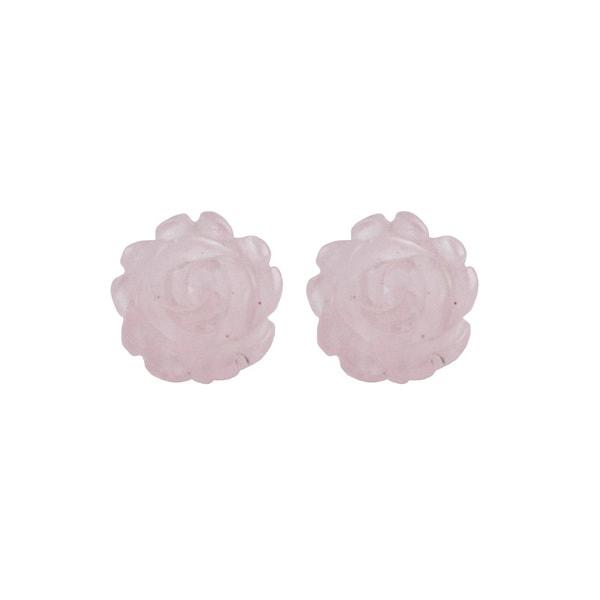 14k Yellow Gold Carved Rose Quartz Flower Earrings