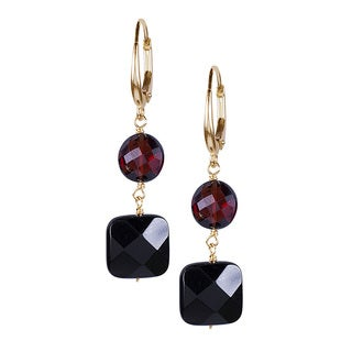 14k Yellow Gold Garnet Black Onyx Leverback Earrings