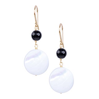 14k Yellow Gold Black Onyx Mother of Pearl Hook Earrings