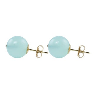 14k Yellow Gold Round Blue Chalcedony 10mm Stud Earrings