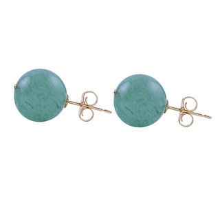 14k Yellow Gold Round Aventurine 10mm Stud Earrings