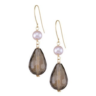 14k Yellow Gold Pearl and Smoky Quartz Drop Earrings