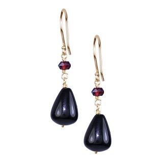 14k Yellow Gold Garnet Black Onyx Hook Earrings