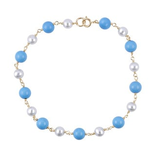 14k Yellow Gold Turquoise Freshwater Pearl 7.5-inch Link Bracelet