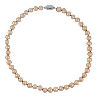 Sterling Silver Golden Color Freshwwater Pearl Potato Knotted 18-inch Necklace