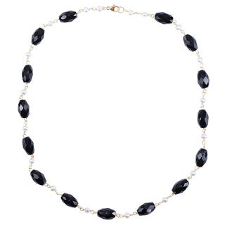 14k Yellow Gold Black Onyx Freshwater Pearl Necklace