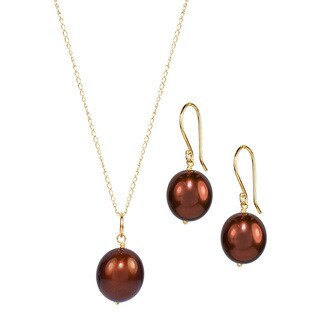 14k Yellow Gold Brown Pearl 17-inch Necklace and Earrings Set