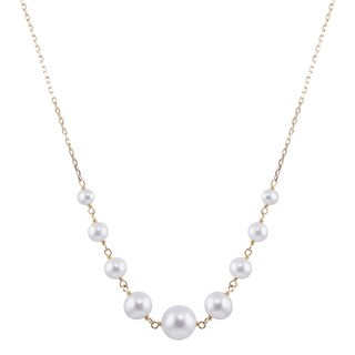 14k Yellow Gold White Freshwater Pearl Round Link 17-inch Necklace