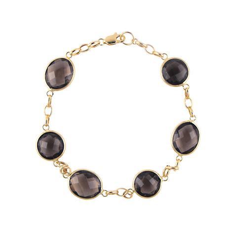 14k Yellow Gold Smoky Quartz Bracelet