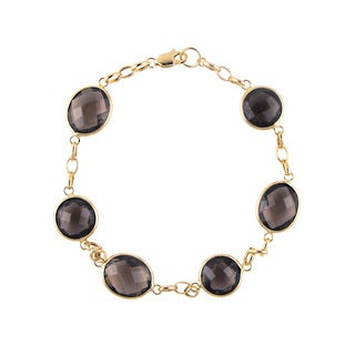 14k Yellow Gold Smoky Quartz Bracelet