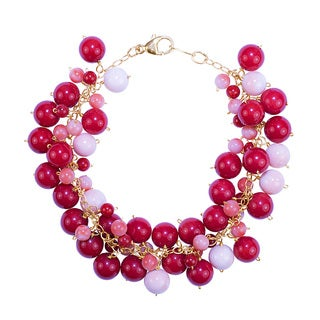 14k Yellow Gold Dyed Natural Coral Bracelet