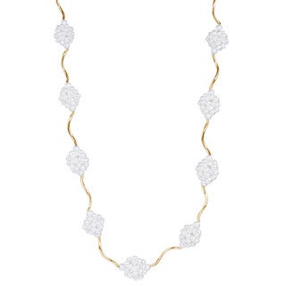 14k Yellow Gold Pearl Cluster 17-inch Necklace