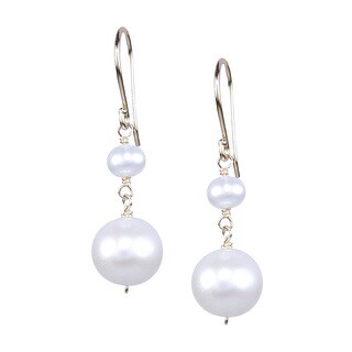 14k Yellow Gold White Pearl Dangle Hook Earrings
