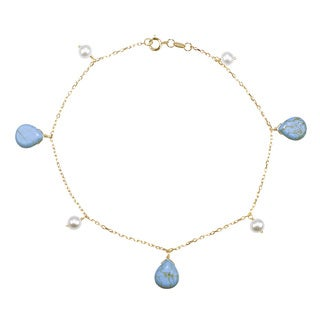 14k Yellow Gold White Pearl Turquoise 9.5-inch Anklet