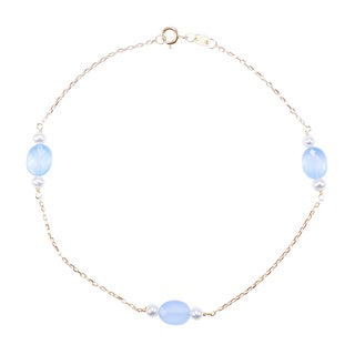 14k Yellow Gold White Pearl Chalcedony Anklet