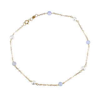 14k Yellow Gold White Pearl Chalcedony 9.5-inch Anklet