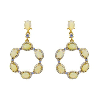 14k Yellow Gold over Sterling Silver Opal Tanzanite and White Topaz Earrings