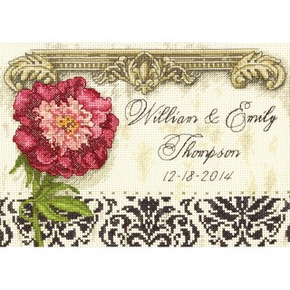 Gold Petite Elegant Wedding Record Counted Cross Stitch Kit7inX5in 18 Count